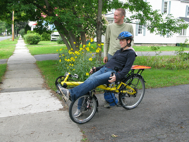 Catherine trying a recumbent for the first time