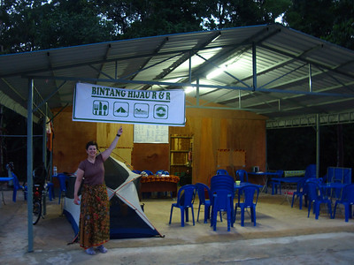 Our campsite for the night - Bintang Hijau R&R (see - there's even a tent sign!)