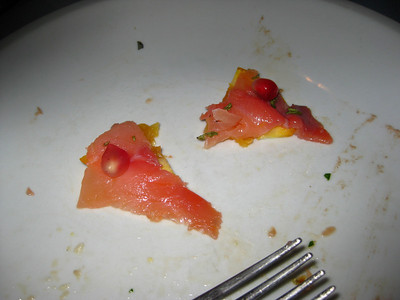 Smoked Salmon with orange and pomogranate - sounds weird, but yummy