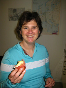 Becky enjoying a prosciutto-wrapped apple - first pork product in ages!