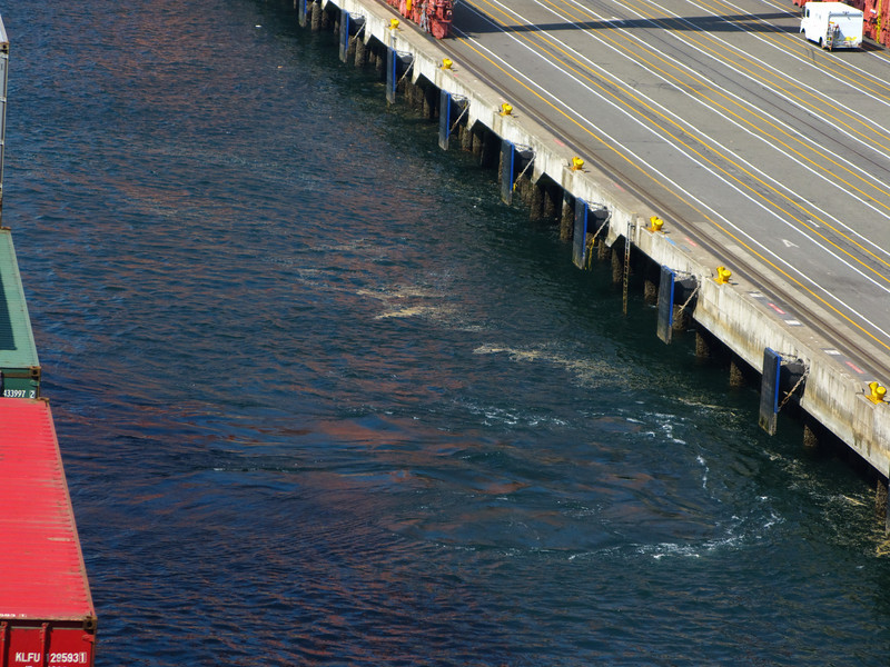 Bow thrusters move a lot of water. Good thing our wharf is on pilings or erosion could be a problem