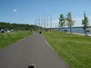 Scott and the bike path by the water in Quebec City.