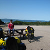 Becky and the view of Lake Superior from the Cavers rest area