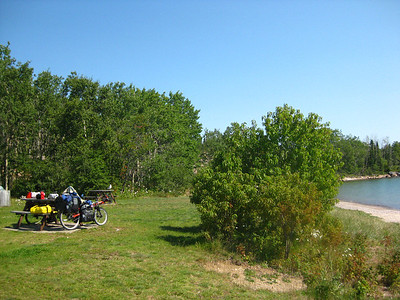 A beautiful beach at the Rossport Rest Area (and our bikes)