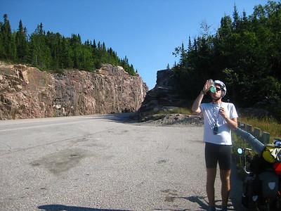 Scott enjoying some Gatorade at the Cavers rest area