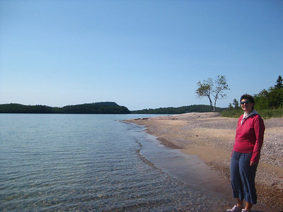 A beautiful beach at the Rossport Rest Area (and Becky)