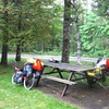 Afternoon snack stop at a picnic area; bathrooms, garbage, picnic tables