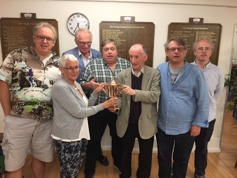 2017 Gold Cup winners: Andrew Black, (Sandra Claridge presenting the trophy),  Gunnar Hallberg, Willie Whittaker, Derek Patterson (Captain), Andrew McIntosh, Phil King