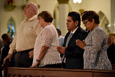 Married couples stand for prayer as Auxiliary Bishop Gregory Kelly celebrates the Silver Mass at the Cathedral Shrine of the Virgin of Guadalupe in downtown Dallas, Saturday, Aug. 11, 2018. Ben Torres/Special Contributor