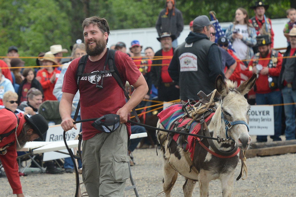 . Henry Schleiger wins the Donkey Derby, April 28, 2018,  in Paradise, California. (Carin Dorghalli -- Enterprise-Record)