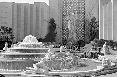 The Fountain of Western Waters with Calvacade of a Nation building in background