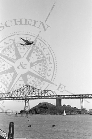 The China Clipper over the Bay Bridge - 1939