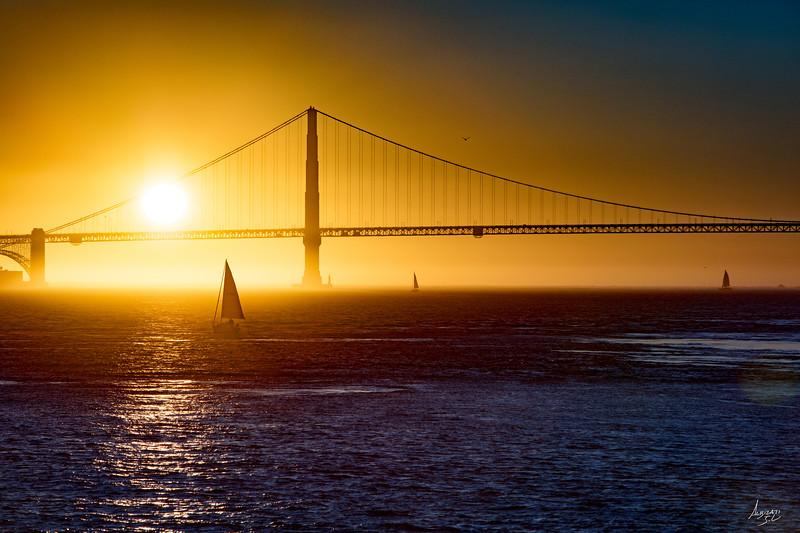 Peacefull Sunset over the Golden Gate