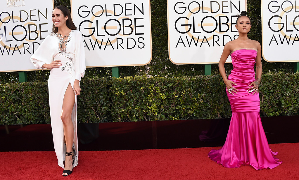 . Louise Roe, left, and Karrueche Tran arrive at the 74th annual Golden Globe Awards at the Beverly Hilton Hotel on Sunday, Jan. 8, 2017, in Beverly Hills, Calif. (Photo by Jordan Strauss/Invision/AP)