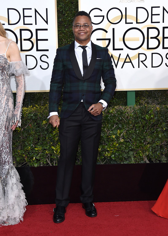 . Cuba Gooding, Jr. arrives at the 74th annual Golden Globe Awards at the Beverly Hilton Hotel on Sunday, Jan. 8, 2017, in Beverly Hills, Calif. (Photo by Jordan Strauss/Invision/AP)