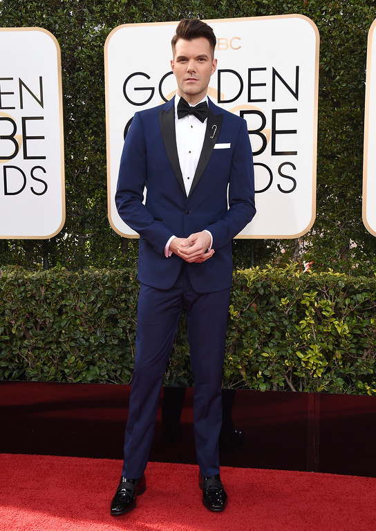. AJ Gibson arrives at the 74th annual Golden Globe Awards at the Beverly Hilton Hotel on Sunday, Jan. 8, 2017, in Beverly Hills, Calif. (Photo by Jordan Strauss/Invision/AP)