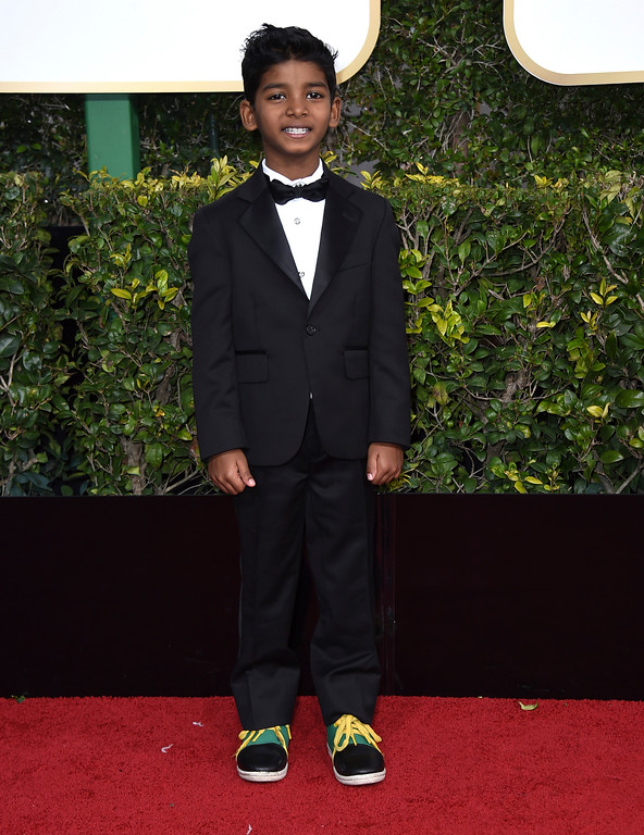 . Sunny Pawar arrives at the 74th annual Golden Globe Awards at the Beverly Hilton Hotel on Sunday, Jan. 8, 2017, in Beverly Hills, Calif. (Photo by Jordan Strauss/Invision/AP)