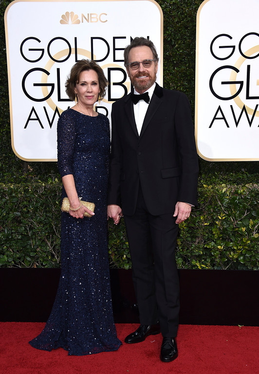 . Robin Dearden, left, and Bryan Cranston arrive at the 74th annual Golden Globe Awards at the Beverly Hilton Hotel on Sunday, Jan. 8, 2017, in Beverly Hills, Calif. (Photo by Jordan Strauss/Invision/AP)