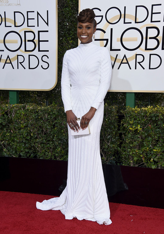 . Issa Rae arrives at the 74th annual Golden Globe Awards at the Beverly Hilton Hotel on Sunday, Jan. 8, 2017, in Beverly Hills, Calif. (Photo by Jordan Strauss/Invision/AP)