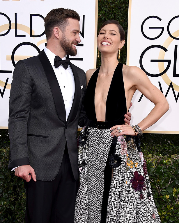 . Justin Timberlake, left, and Jessica Biel arrive at the 74th annual Golden Globe Awards at the Beverly Hilton Hotel on Sunday, Jan. 8, 2017, in Beverly Hills, Calif. (Photo by Jordan Strauss/Invision/AP)