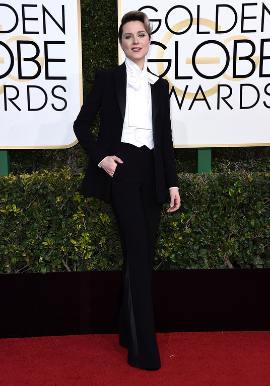 . Evan Rachel Wood arrives at the 74th annual Golden Globe Awards at the Beverly Hilton Hotel on Sunday, Jan. 8, 2017, in Beverly Hills, Calif. (Photo by Jordan Strauss/Invision/AP)