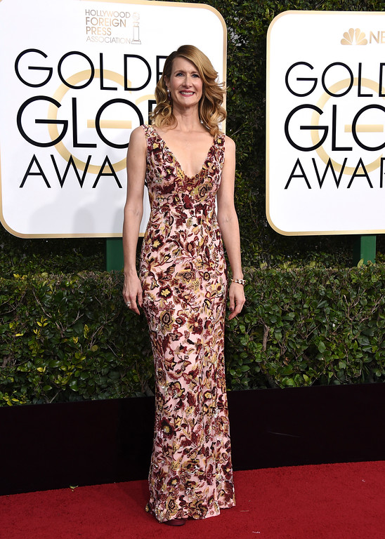 . Laura Dern arrives at the 74th annual Golden Globe Awards at the Beverly Hilton Hotel on Sunday, Jan. 8, 2017, in Beverly Hills, Calif. (Photo by Jordan Strauss/Invision/AP)