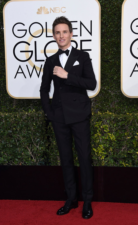 . Eddie Redmayne arrives at the 74th annual Golden Globe Awards at the Beverly Hilton Hotel on Sunday, Jan. 8, 2017, in Beverly Hills, Calif. (Photo by Jordan Strauss/Invision/AP)