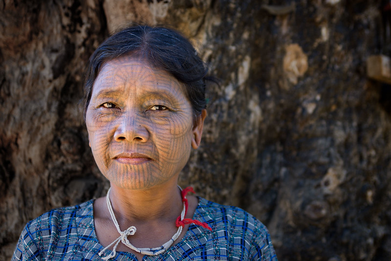 Tattooed woman, Chin village. Mrauk U.
