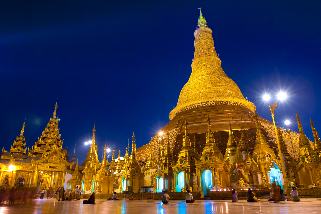The Shwedagon Paya (pagoda) by night. Yangon.