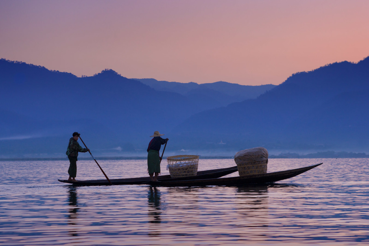Early morning on Inle lake.
