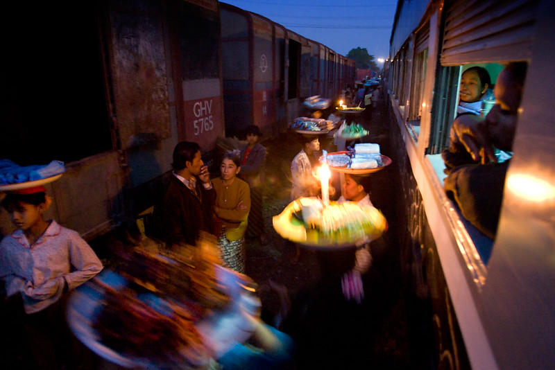 The train leaves Myitkyina for Mandalay. Refreshments for sale.