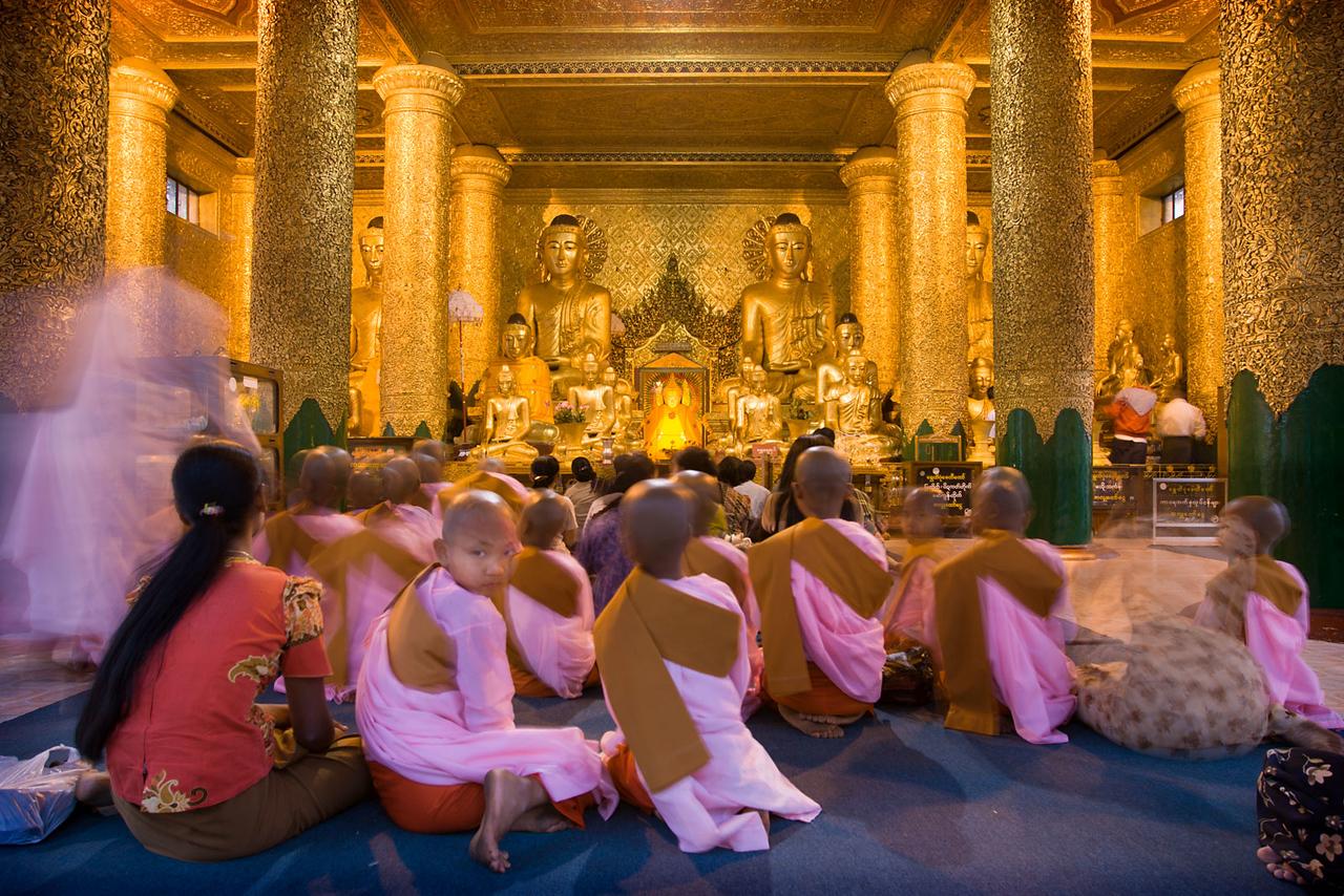Young nuns, Shwedagon Paya (pagoda). Yangon.