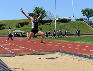 Kaylee Shoemaker competes in the triple jump as Butte College hosts the Golden Valley Track and Field Championships at the college's stadium Friday, April 28, 2017, in Butte Valley, California. (Dan Reidel -- Enterprise-Record)