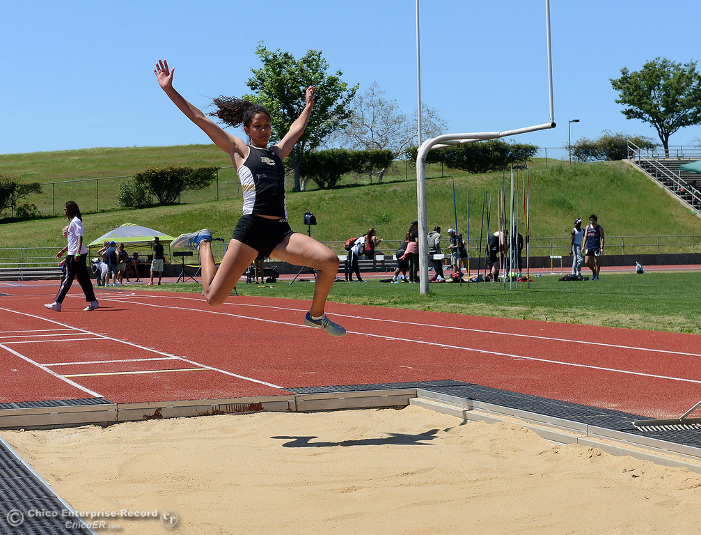 . Kaylee Shoemaker competes in the triple jump as Butte College hosts the Golden Valley Track and Field Championships at the college\'s stadium Friday, April 28, 2017, in Butte Valley, California. (Dan Reidel -- Enterprise-Record)