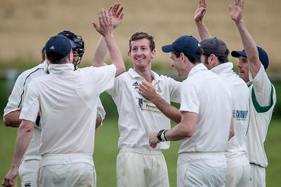 Goldsborough celebrating taking a wicket