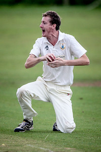 Masham batsman is caught and bowled in spectacular style.