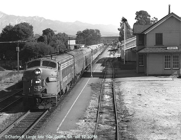 Charles Lange photograph. SP6451 pulls Train 99, the northbound Coast Daylight, on its way to San Francisco in the late 1960s.