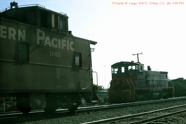 Local out of Oxnard switching at Goleta Depot in early 1970s. Charles Lange photograph.