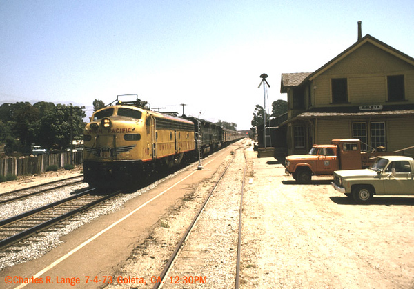 "Charles Lange photograph. Early Amtrak trains were composed of ""heritage"" equipment - locomotives and passenger cars inherited from the commercial railroads as in this 1973 photo of the northbound Coast Starlight."