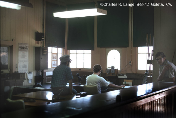 Charles Lange photo shows the operator (center, in chair) and two of Lange's friends, Lou Mandeville (left), who's father was a Santa Barbara ticket agent for SP and later Amtrak, and Steve Arbuckle (right), who hung around the station a lot and later became an SP dispatcher.