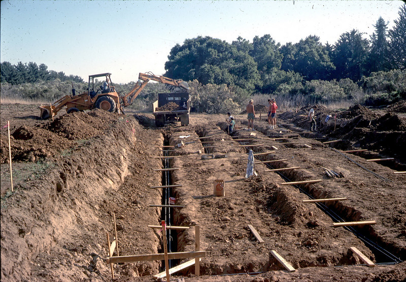 Rebar is used to strengthen the footings.