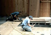 """Paul"" and Bob Mowry installing Freight Room flooring, 6/1982. acc2005.001.0248"