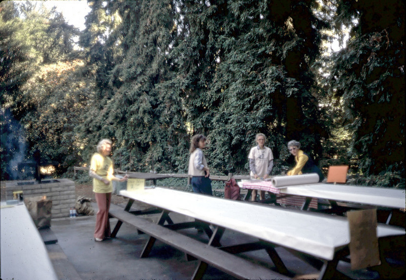 11/8/1981 Goleta Beautiful Barbecue. Norma Cavaletto, Mary Erdahl, Sabra Stevens, Harriett Phillips. acc2005.001.0002