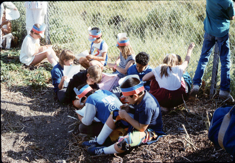 La Patera Elementary School rail trip to San Luis Obispo - stranded near Atascadero due to bus breakdown on return trip, 4/23/1987. acc2005.001.0790