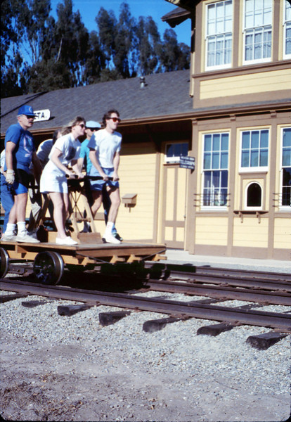 Handcar rides at museum begin, 11/1989. acc2005.001.1219