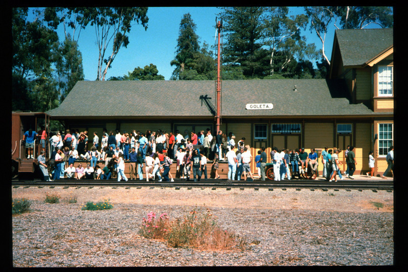 Medical Concepts Inc., a Goleta-based research firm, used Goleta Depot recently as the setting for its company photograph. All operations at company headquarters on Cremona Drive were brought to a halt for more than an hour on the afternoon of Sept. 14, 1994, while the entire staff car-pooled to the railroad museum. The final photograph captured 140 Medical Concepts employees assembled on Goleta Depot's loading dock, including workers at all levels. acc2005.001.2009