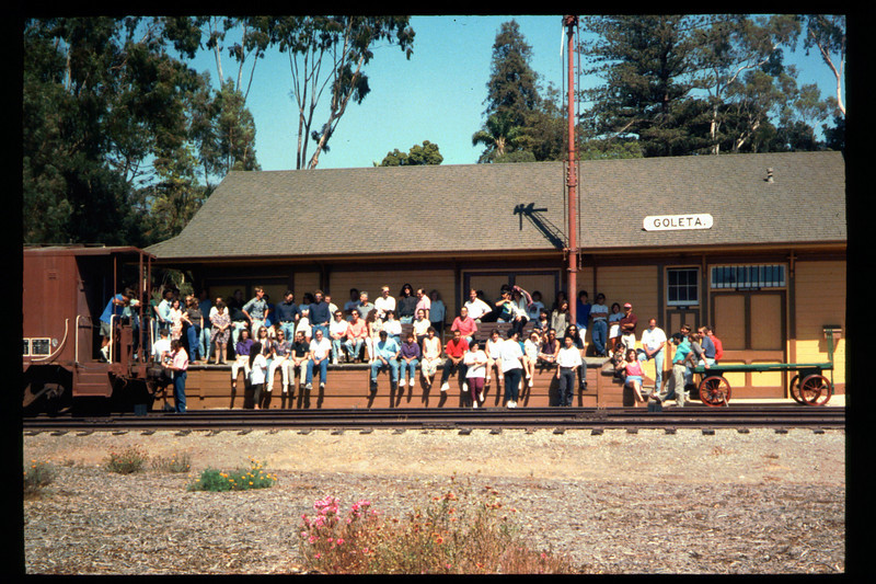 Medical Concepts Inc., a Goleta-based research firm, used Goleta Depot recently as the setting for its company photograph. All operations at company headquarters on Cremona Drive were brought to a halt for more than an hour on the afternoon of Sept. 14, 1994, while the entire staff car-pooled to the railroad museum. The final photograph captured 140 Medical Concepts employees assembled on Goleta Depot's loading dock, including workers at all levels. acc2005.001.2005