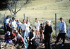 La Patera Elementary School rail trip to San Luis Obispo - stranded near Atascadero due to bus breakdown on return trip, 4/23/1987. acc2005.001.0789