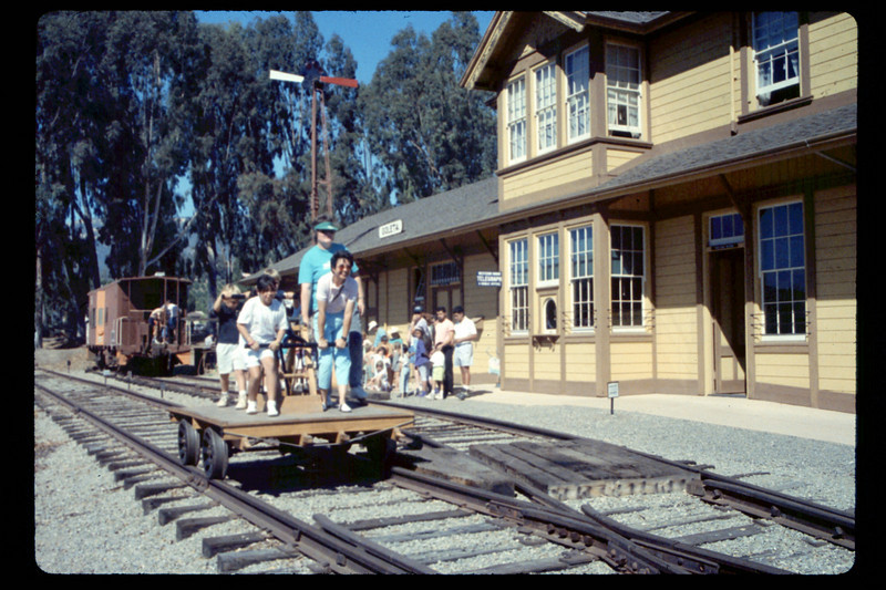 Depot Day handcar rides, 10/1990. acc2005.001.1408
