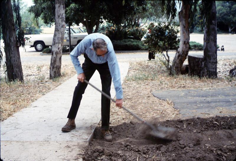 Gene Allen shovels dirt to prepare for miniature-railroad crossing at museum's entry sidewalk, 5/1987. acc2005.001.0794